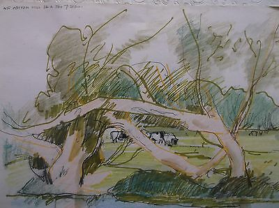 COLOURED GRAPHITE DRAWING by FREDERICK GEORGE WILLS 1901-1993 R.I. ASHTON MILL