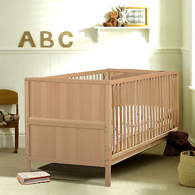 New Jurababy Classic Cot Bed With Foam Mattress Natural Beech From Birth