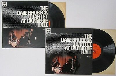 THE DAVE BRUBECK QUARTET At Carnegie Hall Parts 1 & 2 UK CBS RECORDS VINYL LP s