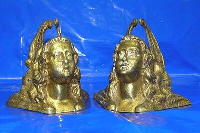 2 Antique  Brass ANGEL w/ WINGS  Furniture Hardware  Pieces - CORNERS