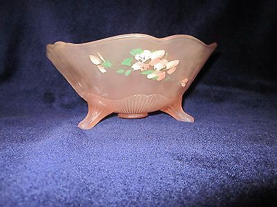 Vintage Pink Satin Frosted Depression Glass Hand Painted 3 Footed Bowl
