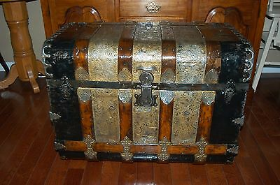 RARE! Refinished 1880's RARE and unusual Monitor/Waterfall trunk with Key.