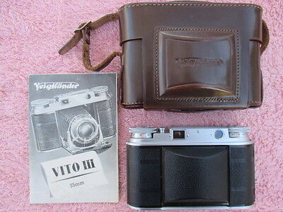 Voigtlander VITO III Foldng 35mm Camera Ultron 2.0 50mm Lens, Case, Instructions