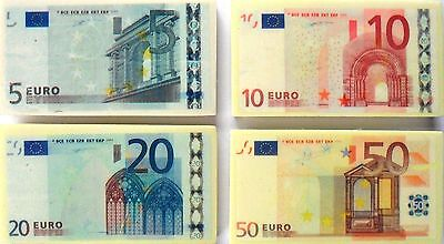 EURO Note Money Novelty Erasers Set of 4