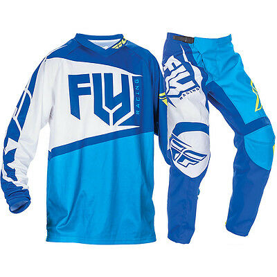 "New 38"" XXL 2017 Adult Fly F-16 Combo Jersey Pants Kit Blue/Hi-Vis MX Enduro"