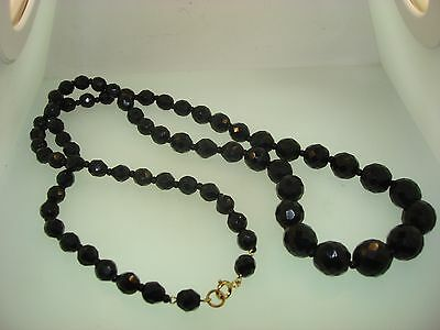 "Elegant Vintage 1940-50's Heavy Faceted Black Glass 30"" Graduated Bead Necklace"