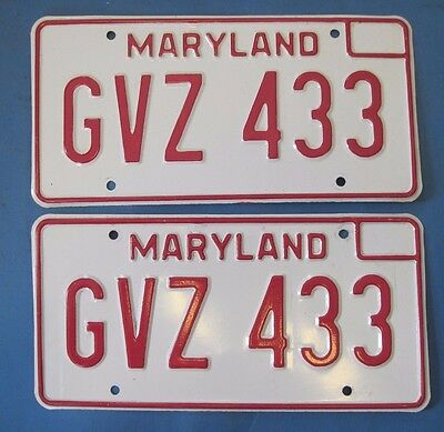 1976 Maryland License Plates matched pair nice original ones