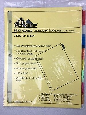 8-Tab Multi-Color Insertable Index Dividers For 3 Ring Binders - Lot of 4 Sets