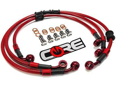 Honda Grom Brake Lines 2016 2017 Front and Rear Red Braided Steel Kit
