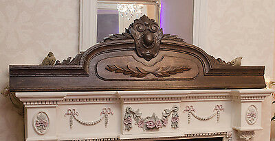 Large French antique oak carved  pediment
