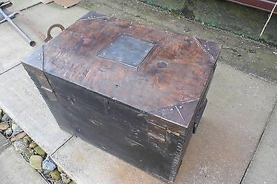 vintage Chest Trunk coffee table Shabby chic wooden mystery silver chest WW11