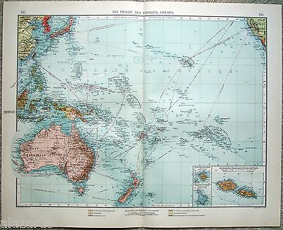 Original 1903 Map of The Islands of the Pacific by Velhagen & Klasing. Australia