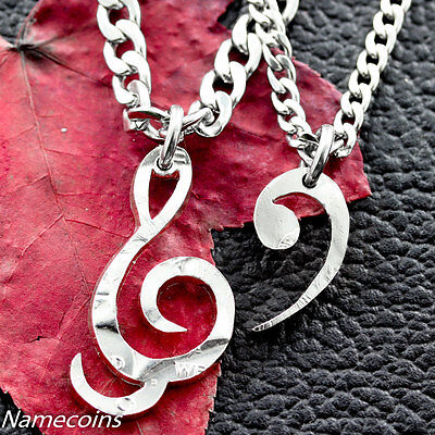 Treble Clef and Bass Clef Necklace, hand cut half dollar