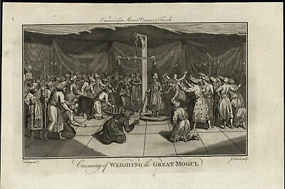 Ceremony of Weighing the Great Mogul Grandeur c.1780 antique engraved print