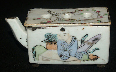 Antique Chinese Hand Painted Porcelain Cricket Cage Box Tongzhi Period China 3