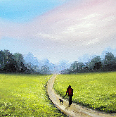 SARAH FEATHERSTONE ORIGINAL ART SIGNED CANVAS OIL PAINTING, Countryside Walk,dog