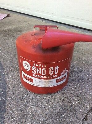 Vintage Eagle 6 Gallon Sno Go 509 Gas Can w/Funnel Snowmobile