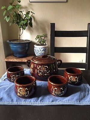 Vintage Brown Moriage Soup Tureen & 4 Bowl's- Japan