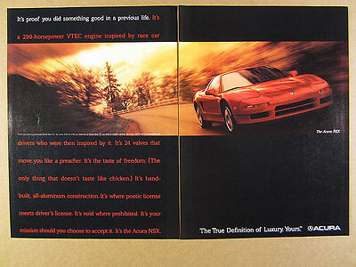 1998 Acura NSX red car color photo vintage print Ad