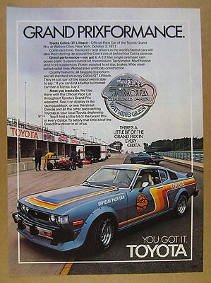 1977 Toyota Celica GT Liftback Watkins Glen Pace Car photo vintage print Ad