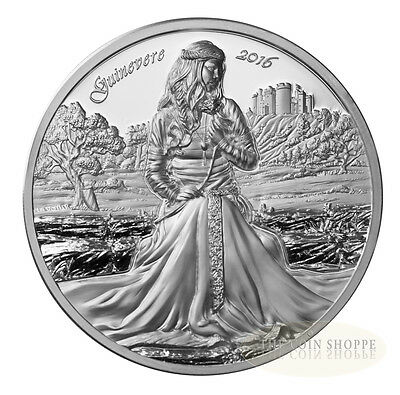 LADY GUINEVERE LEGENDS OF CAMELOT 2016 2 oz Ultra High Relief Proof Silver Coin