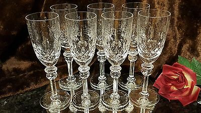 7 FAB ROGASKA Crystal HAND CRAFTED CUT GLASS Champagne Wine Flutes YUGOSLAVIA!