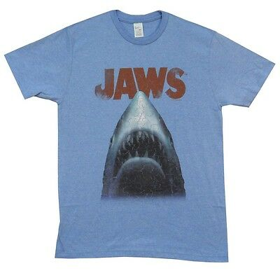 Jaws Big Shark Print Heather Distressed Licensed Adult T Shirt