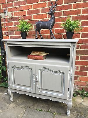 Stunning French Carved TV Unit Stand Sideboard Annie Sloan French Linen Silver