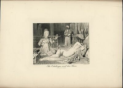 The Odalisque and her Slave Nudity Beauty c.1880 large antique engraved print