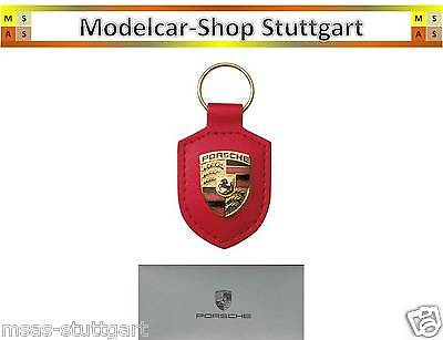 Porsche Keyring Crest red - Real leather - Made in Germany