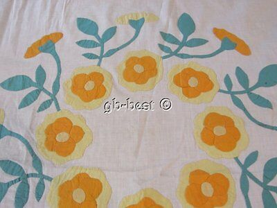 Marie Webster Fans! c 30s Wreath of Roses APPLIQUE Quilt Block LARGE last one