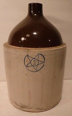 Vintage Jug Pottery Antique Whiskey Moonshine Vessel Stoneware Light Tan Cork