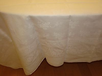 "Antique Irish Linen Damask Banquet Tablecloth - Wild Roses - 128"" x 88"""