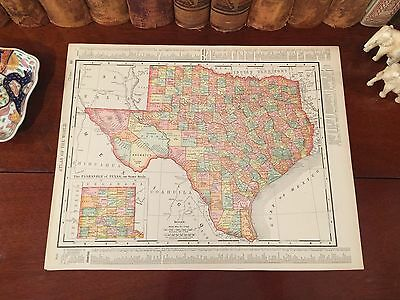 Large Original 1899 Antique Map TEXAS Houston Dallas San Antonio Austin Plano TX