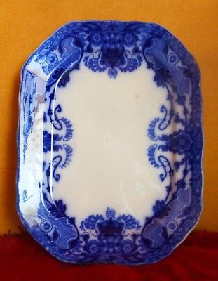 "Antique Flow Blue Wedgwood Raleigh Semi Porcelain Platter 13 1/2"" Long"