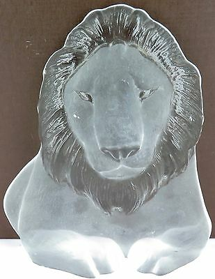 .vintage Mats Jonasson Signed / Large Heavy Set Lion Glass Figure Rk3?142 - 60