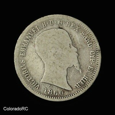 1860 Italy Sardinia Silver 50 Centesimi - Very Good