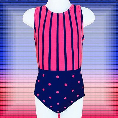 Gymnastics Leotard Girls sz CM Child 6 Navy, orange-red dots & stripes NEW ca