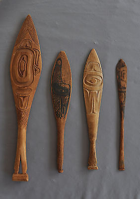 4 Old Northwest Coast Canoe Dance Paddles - Carved Painted - Tlingit - Haida