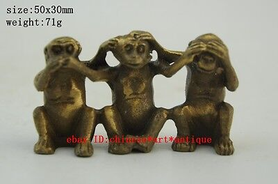 Chinese antique Fengshui brass Zodiac Year No Hear See Speak Three Monkey Statue