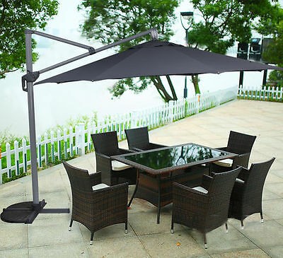 Dark Grey Aluminium Outdoor Garden Patio 3.5 M Cantilever Umbrella Market Shade