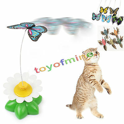 Funny Pet Cat Kitten Toys Electric Rotating Butterfly Rod Cat Play Toy Props 1pc