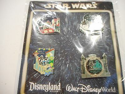 2012 Star Wars In The Park Booster Set Lot of 4 Disney Pins *****NEW*****