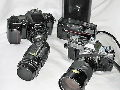Collection Of Vintage 35Mm Cameras Nikon, Canon & Ricoh W/vivtar & Pentax Lens