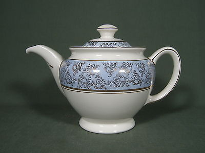 Portland Pottery Teapot Blue White And Gold Trim Cobbridge Made In England