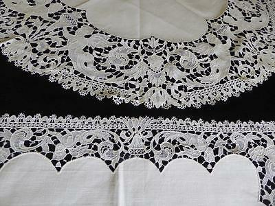 2 Antique Figural Swiss Chemical Lace & Linen Round & Rectangle Doilies Angels