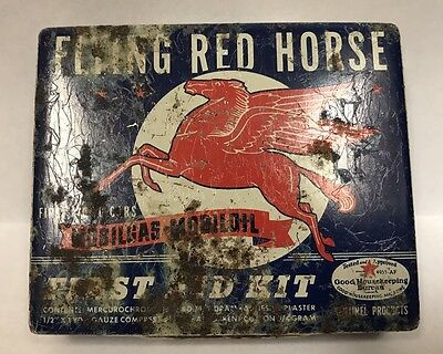 VTG 30s 40s MOBIL OIL MOBILGAS FLYING RED HORSE AUTOMOTIVE TIN FIRST AID KIT