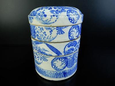 F1897: Japanese Old Imari-ware Flower pattern FOOD BOXES Jubako Lunch Box