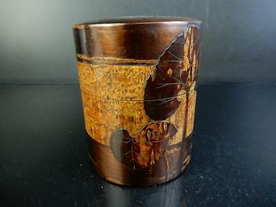 F1921: Japanese Wooden Tin plate Cherry bark art TEA CADDY Chaire Container