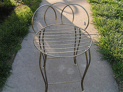 VINTAGE Metal VANITY BATHROOM MAKE UP STOOL CHAIR SEAT Gold Tone Sturdy Metal